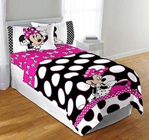 Disney Minnie Mouse Twin or Full Black Pink Polka dot Comforter Bedspread