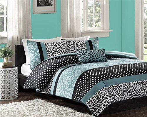 Teen Girls Black Teal Bedding Comforter Leopard TWIN TWIN XL Bedspread White Aqua Blue Damask Set  Shams  Throw Pillow  LED Keychain Polka Dot Comforters Sets for Girl Kids TWIN TWIN XL