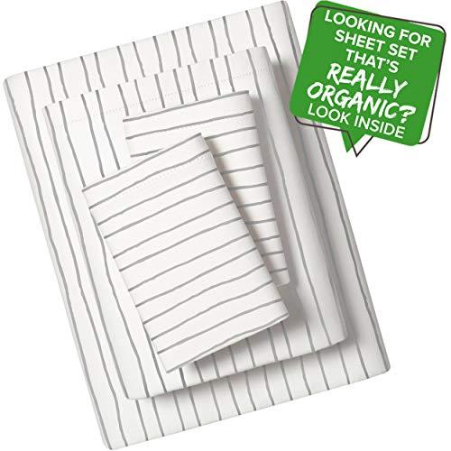 Organic Sheet Set Full Size 4 Piece GOTS Certified Organic Cotton Sheet Set Full Dreamy Soft Anti Allergy Non Toxic 1 Fitted Sheet 1 Flat Sheet 2 Pillowcases Boys Girls Kids Full Gray Stripes
