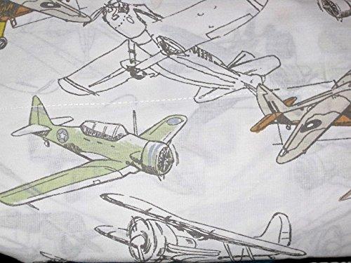 6-pc TWIN SIZE vintage airplanes  bi-planes comforter set COMFORTER SHAM ACCENT PILLOW cotton SHEET SET