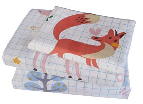 Kids Boy Girl Forest Fox Deer Oxl 100 Cotton 210 Thread Count 3-Pieces Twin Bedding Set Flat Sheet  Fitted Sheet  Pillowcase