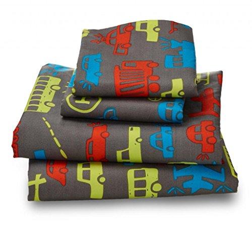 Full Sheet Set Transportation Print for Kids Bedding - Double Brushed Ultra Microfiber Luxury Bedding Set By Where the Polka Dots Roam