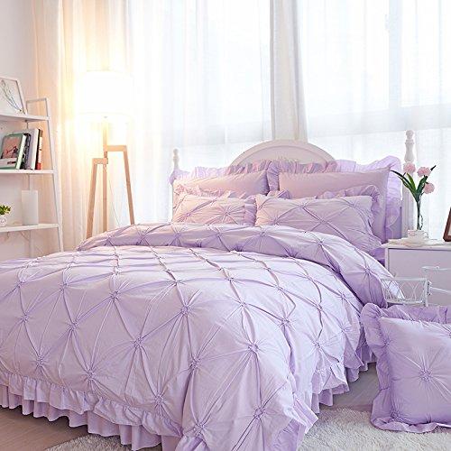 Sisbay Purple Lattice Ruffle Bed Set Twin for PrincessFashion Girls Geometric Duvet CoverReactive Print Unique Bed Sheet Pillows5pcs