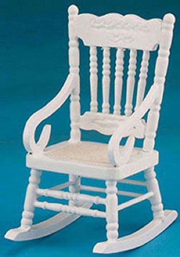 Dollhouse Miniature White Wood Rocking Chair