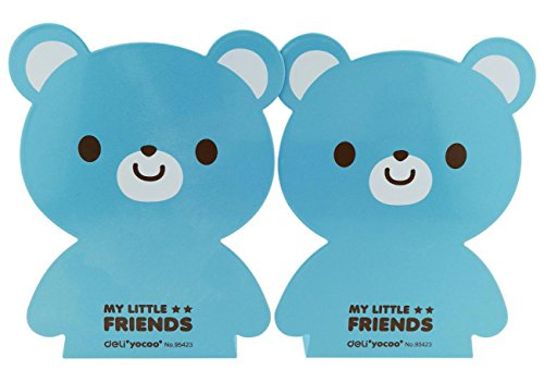 Cartoon Cute Lovely Bear Pattern Nonskid Heavy Metal Office Desk Bookends for kids children Blue