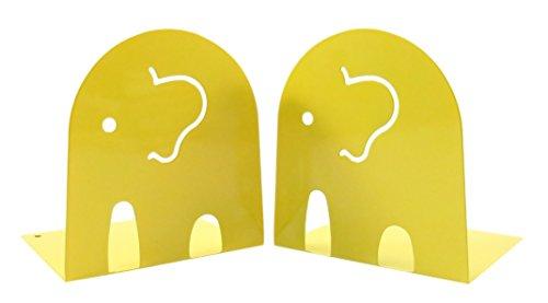 Kids Fun Elephant Non-Skid Metal Bookends 4 12 x 4 34 Yellow 1 Set