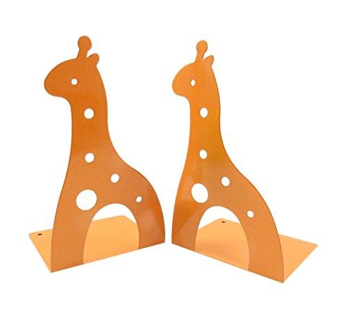 Kids Fun Giraffe Non-Skid Metal Bookends 6 58 x 3 1516 Orange Set of 2