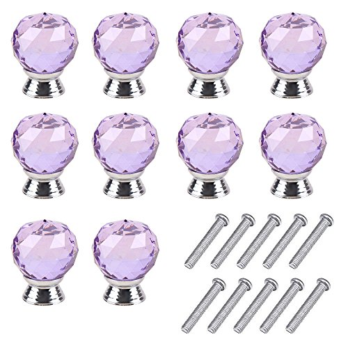 Mosong 10pcs 30mm Purple Glass Clear Cabinet Knob Drawer Pull Handle Kitchen Door Wardrobe Hardware Used for Cabinet Drawer Chest Bin Dresser Cupboard Etc Purple