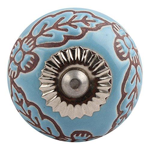 Set of 12 IndianShelf Handles Handmade Knobs Turquoise Floral Etched Ceramic Dresser Pull New Design