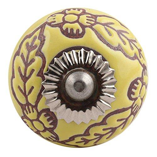 Set of 6 IndianShelf Handles Handmade Knobs Yellow Floral Etched Ceramic Dresser Pull New Design