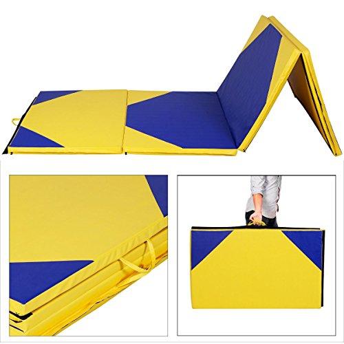 4x10x2 Thick Folding Panel Gymnastics Mat Gym Fitness Exercise YellowBlue