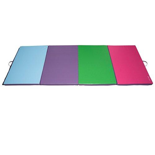 Soozier PU Leather Gymnastics TumblingMartial Arts Folding Mat Light BluePurpleGreenPink 4 x 8 x 2