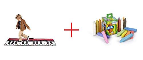 FAO Schwarz Big Piano Dance Mat and Crayola Washable Sidewalk Chalk - 16 Count - Bundle