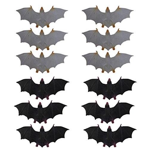 12x Plastic Bats Halloween Rodents Animals Model Spooky Vampire Novelty Toys