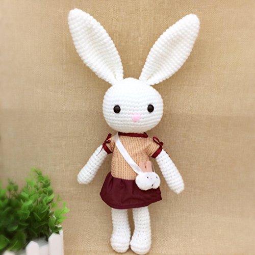 HYST Pastel Rabbit Handmade Amigurumi Stuffed Toy Knit Crochet Doll Baby Bunny Animal Toy White with Dress