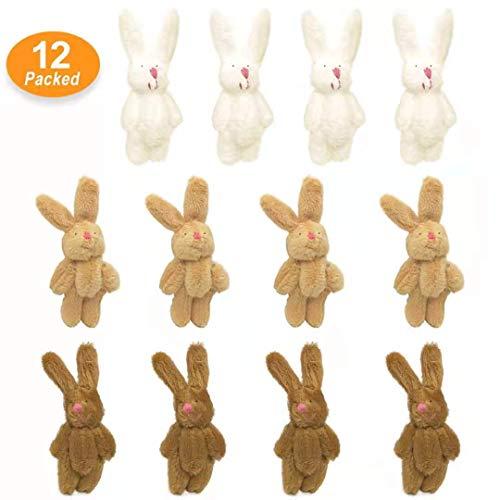 KUDES 12Pcs 6CM Mini Joint Rabbit Stuffed Animal Plush Toys Wedding Gift Box Doll Toy for Birthday Cake Wedding Decorations Party Favors Supplies Bag Charm DIY Accessory