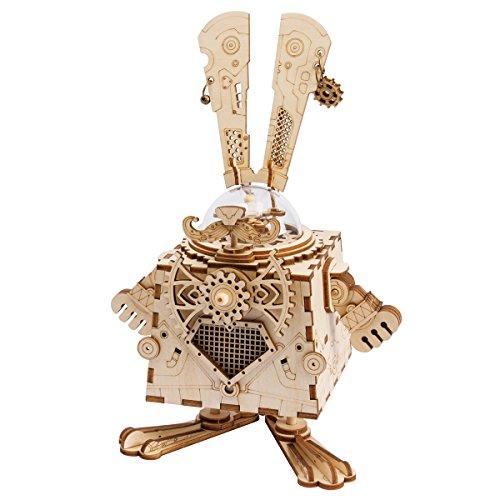 ROKR 3D Wooden Music Box Machinarium-Laser Cut Model Kits-DIY Rabbit Toy-Creative Birthday Christmas for Boys and Girls