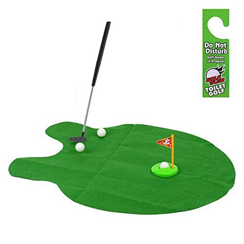 Awakingdemi Funny Potty Putter Toilet Bathroom Time Mini Golf Game Novelty Creative Gag Gift Toy Mat -Green