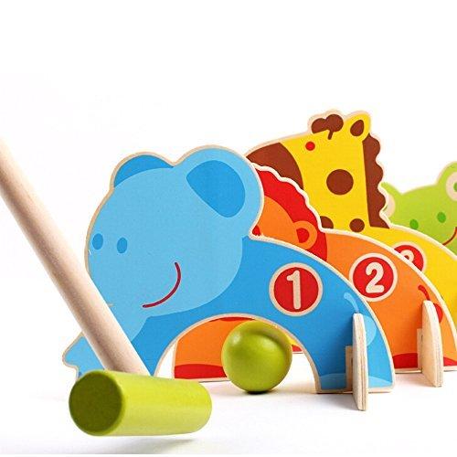 COFFLEDÂ New Funny Outdoor Family Educational Games Cartoon Animal Croquet Toy Game Wooden Golf Toys