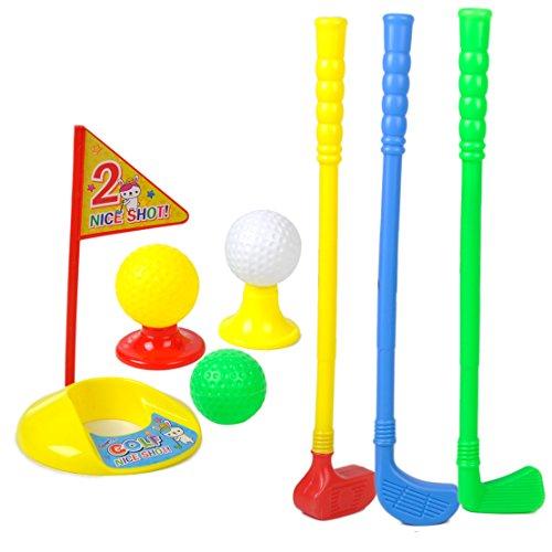 Kids Outdoor Summer Garden Small Plastic Caddy Golf Toy Set 3 Clubs3 Balls by eastar