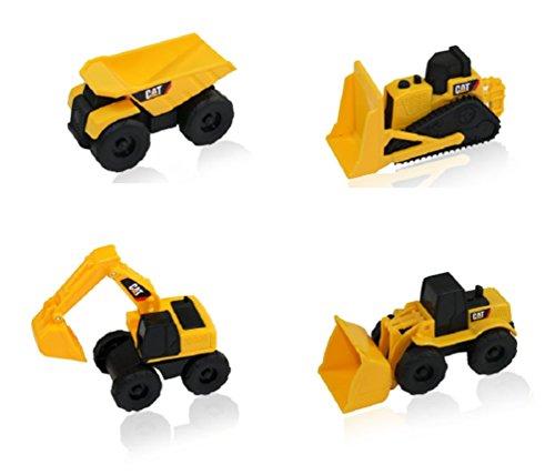 CAT Mini Machine Caterpillar Construction Toy Truck Mini Machine Set of 4 Dump Truck Bulldozer Wheel Loader and Excavator Free-Wheeling Vehicle Sand Box Toy Children Cake Toppers Party Favors