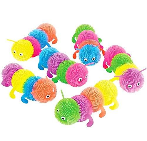 Rhode Island Novelty 6 Inch 4 Ball Caterpillar Puffer Toy Set of 6