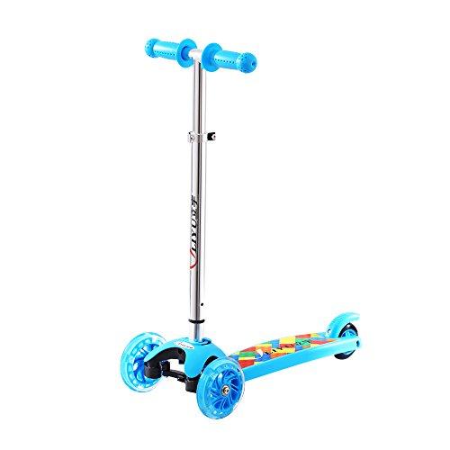 Mini Kick 3 Wheel Adjustable Height Scooter with PU Flashing Wheel for Kids Sky blue