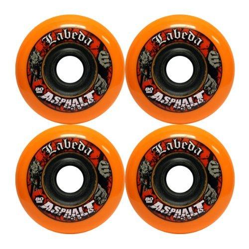 Labeda Asphalt Wheels 4 Pack Size 80mm Color Orange Black Model DECK Toys Play