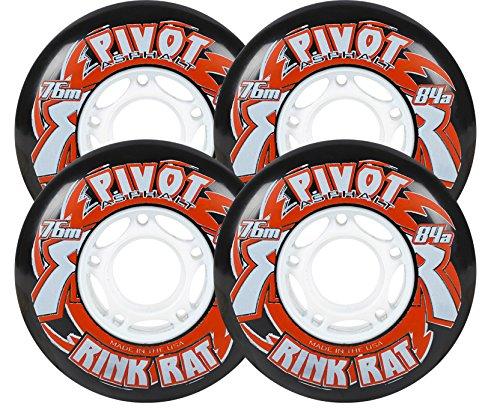 RINK RAT Wheels 80mm 84a PIVOT ASPHALT 4-Pack BlackRed Inline Outdoor Hockey