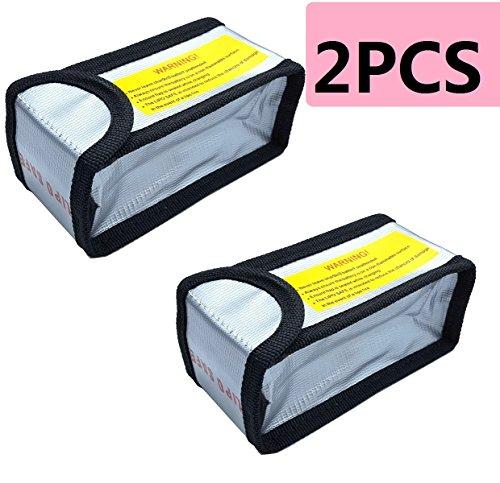 Aiskaer 2pcs Fireproof Explosionproof Lipo Battery Safe Bag Lipo Battery Guard Safe Bag (125x64x50mm)
