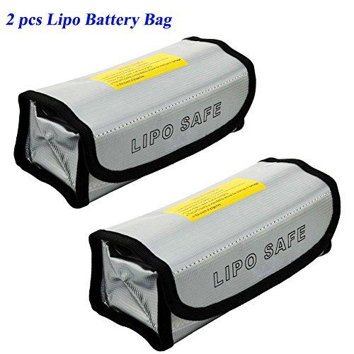 JUMERY 2pcs Lipo Battery Bag Fireproof Explosionproof Lipo Bag Lipo Battery Guard Safe Bag(185x75x60mm)
