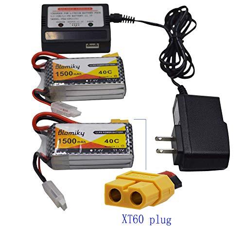 Blomiky 2 Pack 111V 3S 1500mAh Lipo Battery with XT60 Plug and 1 Charger for RC Evader BX RC Car Skylark m4-fpv250 Mini Shredder 200 Qav250 Vortex Drone 111V 1500mAh XT60 2