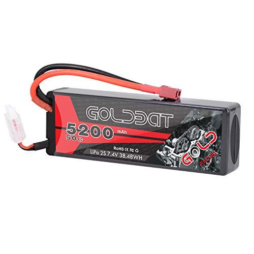 GOLDBAT 2S 74V 5200mAh 50C RC LiPo Battery Hard Case Pack with Deans Plug for RC Evader BX Car Losi Traxxas Slash Buggy Team Associated Truck Truggy