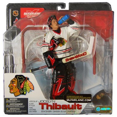 McFarlane Toys NHL Sports Picks Series 4 Action Figure Jocelyn Thibault Chicago Blackhawks Red Jersey VARIANT