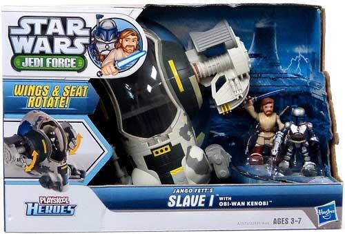 Playskool Heroes Star Wars Jedi Force Jango Fetts Slave I Vehicle with Obi-Wan Kenobi Figure