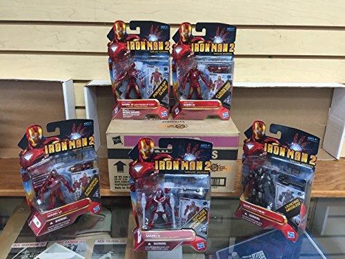 Set of 5 IRON MAN 2 Movie Series Marvel Action Figures Case Fresh 08-12 War Machine