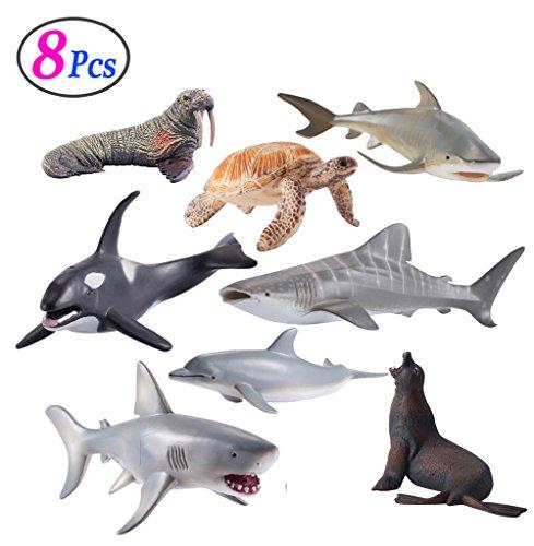 Sea Animals Figure Toys 8 Pcs Set Realistic Ocean Creatures Action Models Kids Education Cognitive Toy