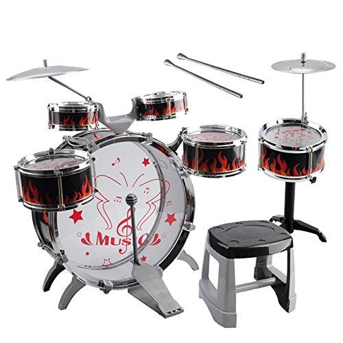 Kids Toy Drum Kit - TOOGOOR1 Set Kids Drum Kit Musical Band Playset Chair Cymbal Children Kids Toy Gift Black