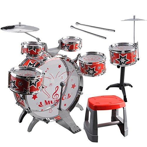 Kids Toy Drum Kit - TOOGOOR1 Set Kids Drum Kit Musical Band Playset Chair Cymbal Children Kids Toy Gift Red
