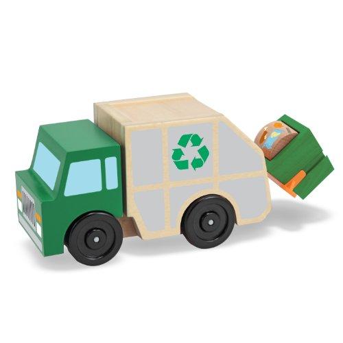 Melissa Doug Garbage Truck Wooden Vehicle Toy 3 pcs