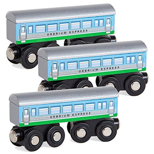 Orbrium Toys 3 Pcs Large Wooden Railway Express Coach Cars Fits Thomas Brio Chuggington