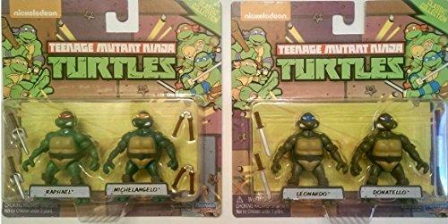 Pocket Size Teenage Mutant Ninja Turtles Bundle set of Four Minaiture Classic Style Poseable Mini Action Figures with Weapons