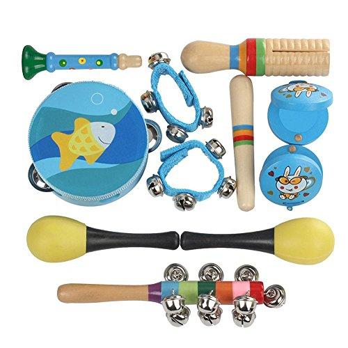 Musical Instruments Kids Toy Set 10 Pieces Orff Percussion Instrument Toy Children Musical Instruments SetBlue