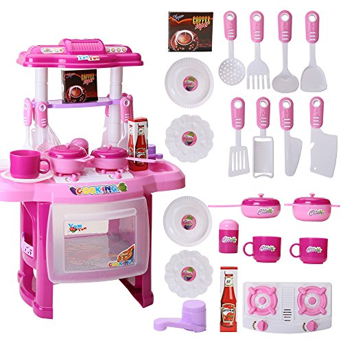 AutoLover Kids Kitchen Toy Kitchen Playset Simulation Kitchen Cookware Pretend Role Play Toy with Music LightPink
