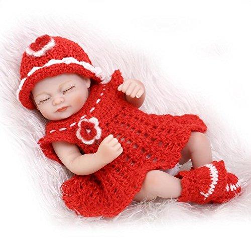 Nicery Reborn Baby Doll Hard Silicone Vinyl 10inch 26cm Waterproof Bathe Toy Gift Red Dress Girl Eyes Close