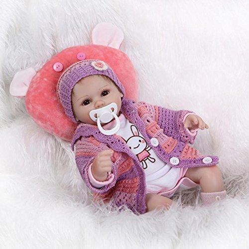 SanyDoll Reborn Baby Doll Soft Silicone vinyl 18 inch 45 cm Lovely Lifelike Cute Baby Boy Girl Toy Beautiful wool clothes doll