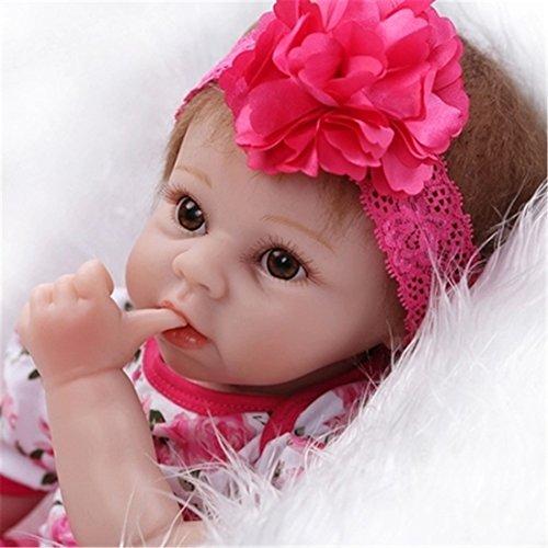 SanyDoll Reborn Baby Doll Soft Silicone vinyl 22inch 55cm Lovely Lifelike Cute Baby Boy Girl Toy Beautiful princess dress