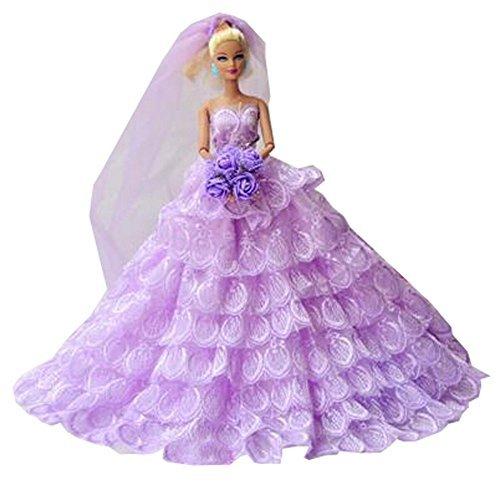 Barbie doll makeover clothing  polka dots kimono  noble Doll costume  embroidery dress dress  doll wedding dress 114 inch Light Purple