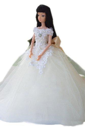 Barbie doll makeover clothing  polka dots kimono  noble Doll costume  embroidery dress dress  doll wedding dress  skirt 115 inch white  02