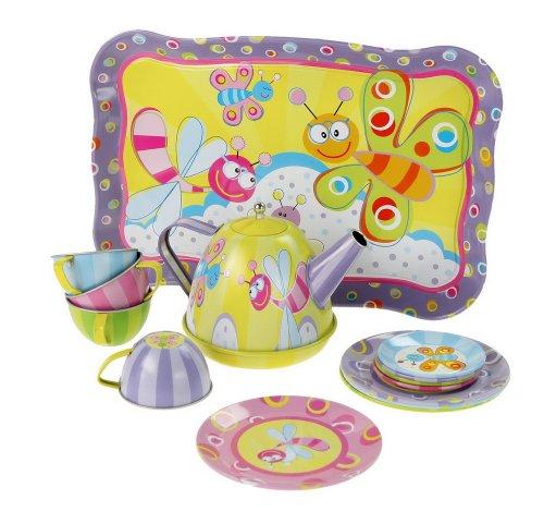 Cute Play Toys Cartoon Tin Tea Set for Kids Dragonfly